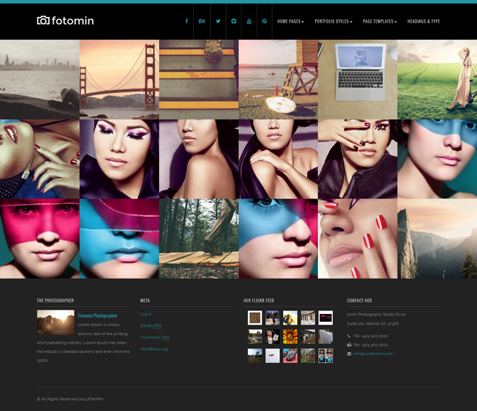 FotoMin Responsive Photography WordPress Theme. It is has multiple home page templates and multi ...