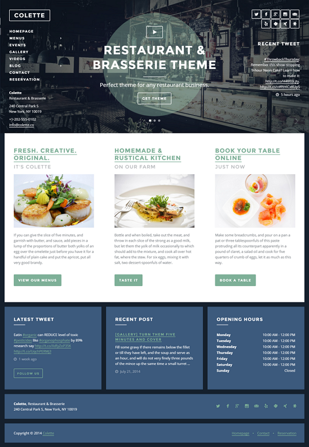 Colette is a perfect WordPress theme for any restaurant, brasserie, pub, bar or any other restau ...