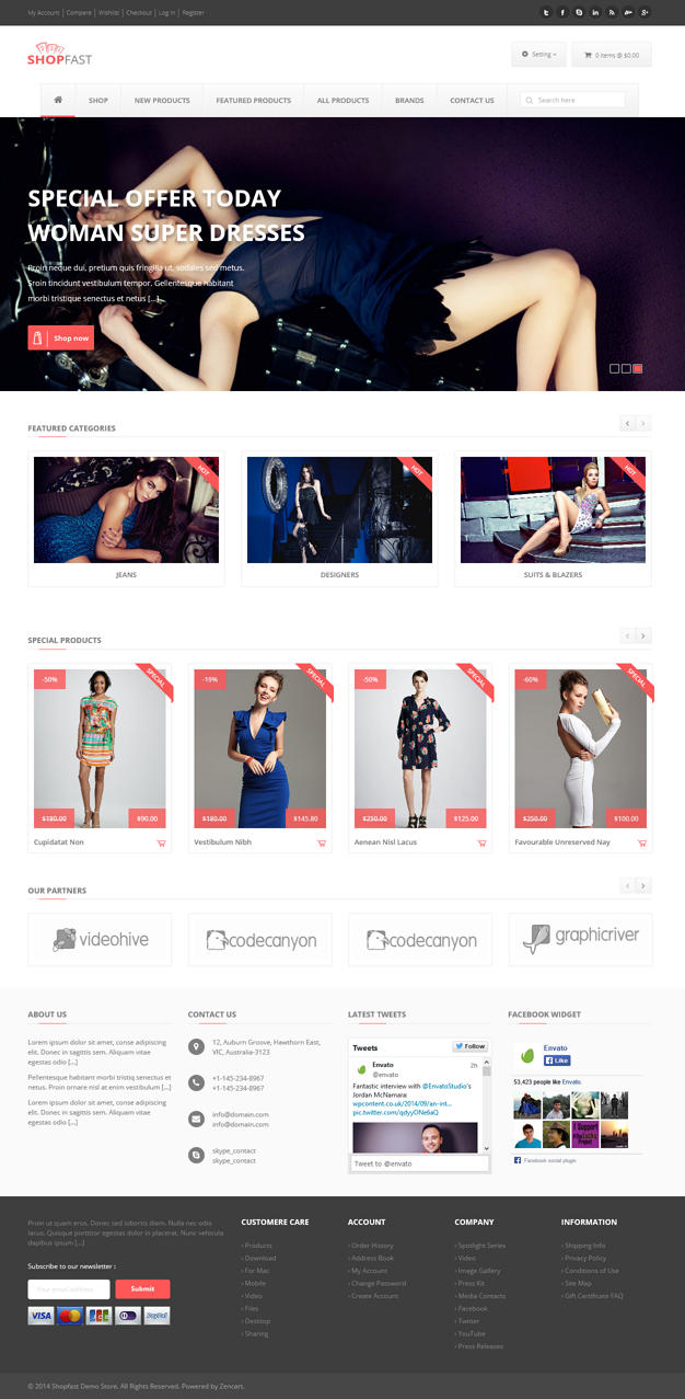 Shopfast is a modern, fully responsive and retina ready Zencart template suitable for any kind o ...
