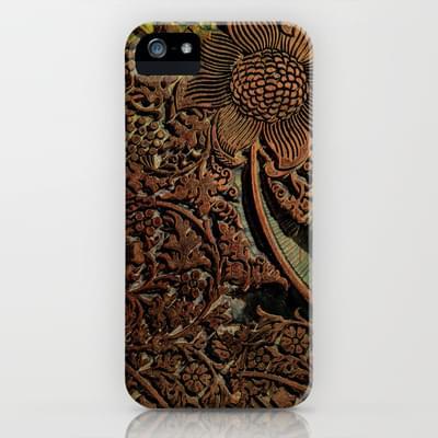 Antique William Morris Arts & Crafts era Wood Carving, wood block  iPhone & iPod Case