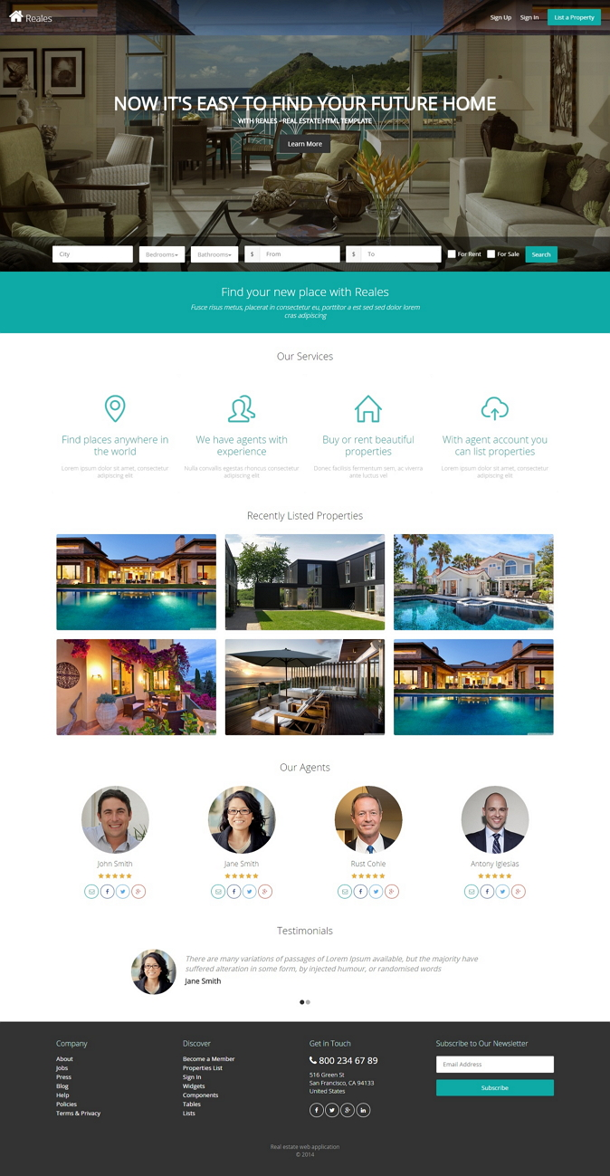 Reales is a fully responsive real estate HTML5/CSS3 and Bootstrap based web application template ...