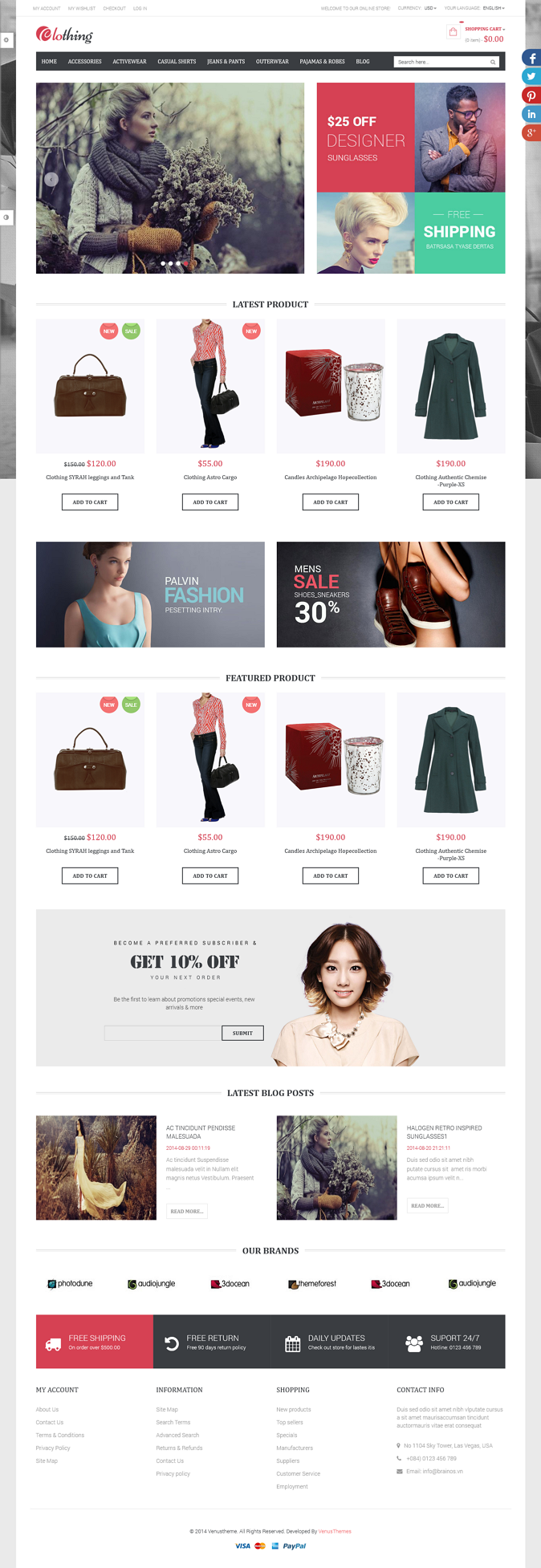 Venus Sun Style Store is a Responsive / Multiple Purpose Magento Template suitable for any kind  ...