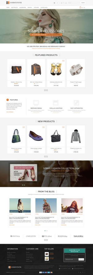 Constitute Prestashop Responsive Theme is designed for fashion, shoes, bags, jewellery, electron ...