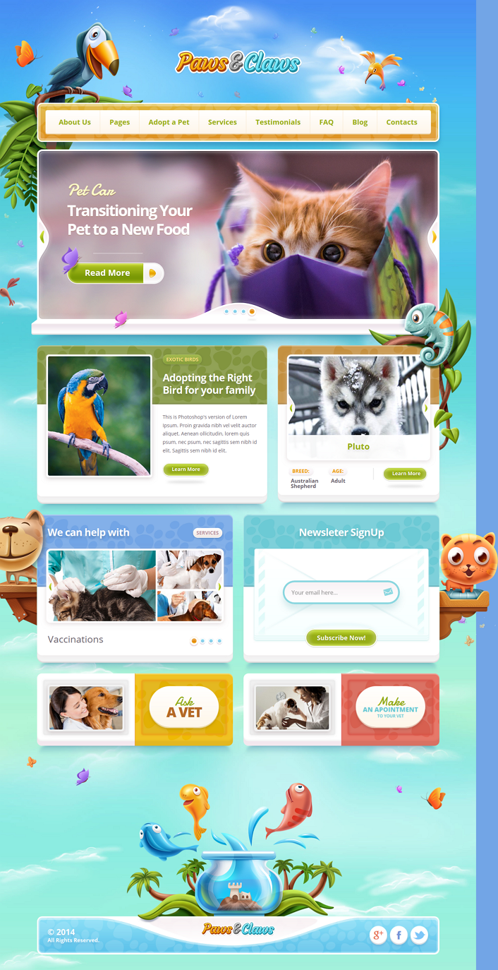 Paws & Claws is a responsive pet WordPress theme that will brighten up your pet clinic websi ...