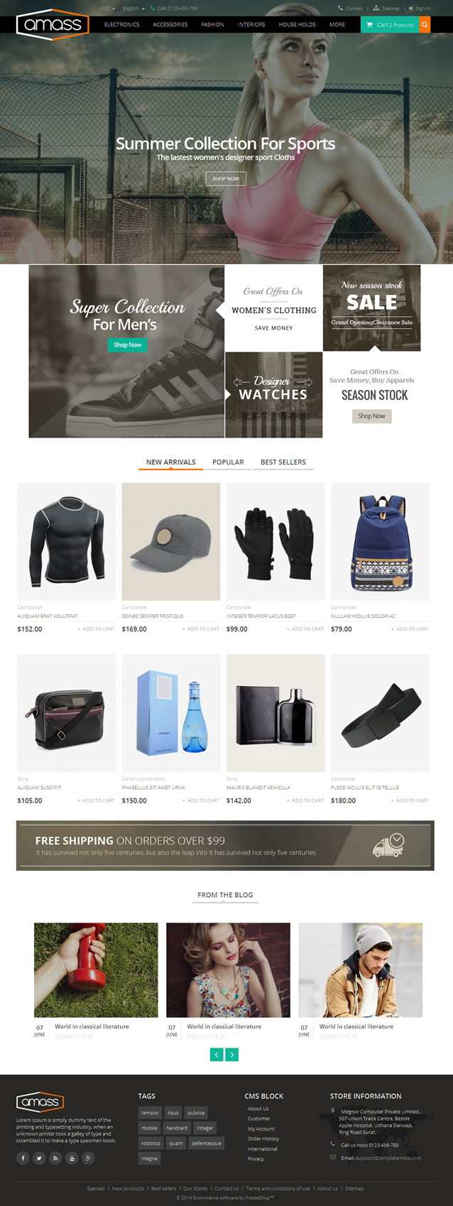 Amass Prestashop Responsive Theme is specially designed for sports, fitness, electronics, fashio ...