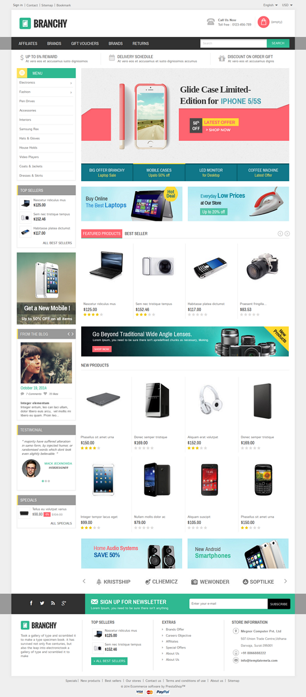 Branchy Prestashop Responsive Theme is designed for electronics, mobile, computer and multipurpo ...