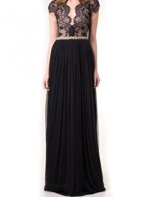 Elegant Black Lace Spliced V Neck High Waisted Backless Floor Length Evening Dress – Nexts ...