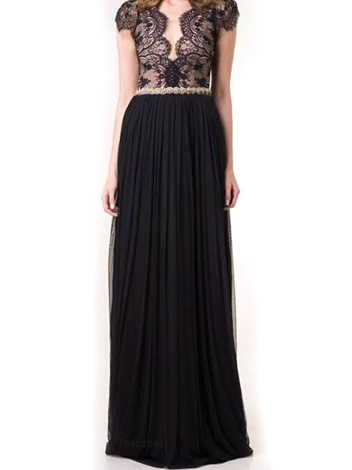 Elegant Black Lace Spliced V Neck High Waisted Backless Floor Length Evening Dress – Nexts ...