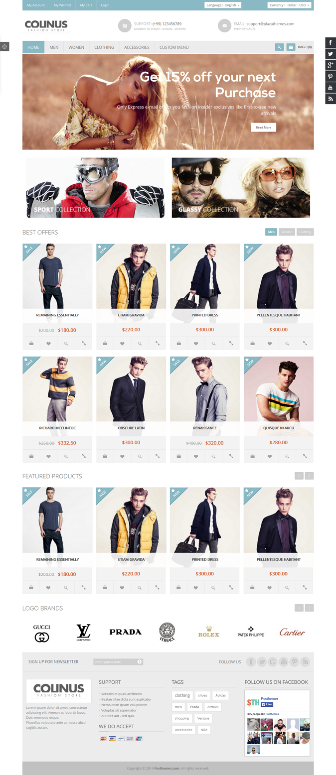 Colinus is a Premium Prestashop Theme for Fashion store, men store, high fashion store, clothing ...