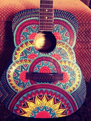 Painted guitar by Red Lotus Designs Lexington