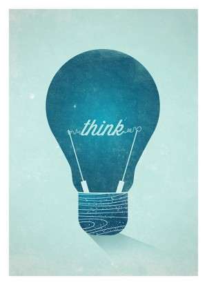 Think Graphic Wall Decor Poster – Vintage Light Bulb Typographic Art Print