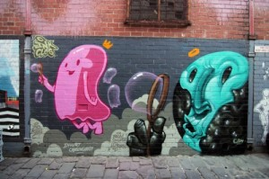 """Summer Bubbles"" Spray paint on concrete, Artist Lane, Melbourne, Australia"