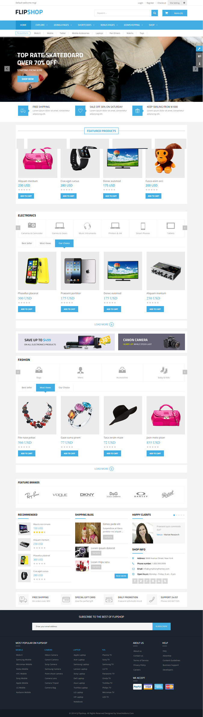 FlipShop Responsive multipurpose Joomla template, is integrated with one of the most powerful eC ...