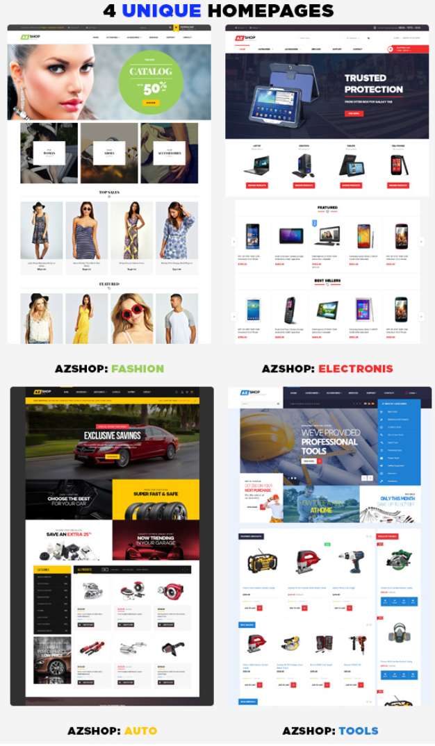 Venus AZ Shop is a Responsive / Multiple Purpose Magento Template suitable for any kind of Fashi ...