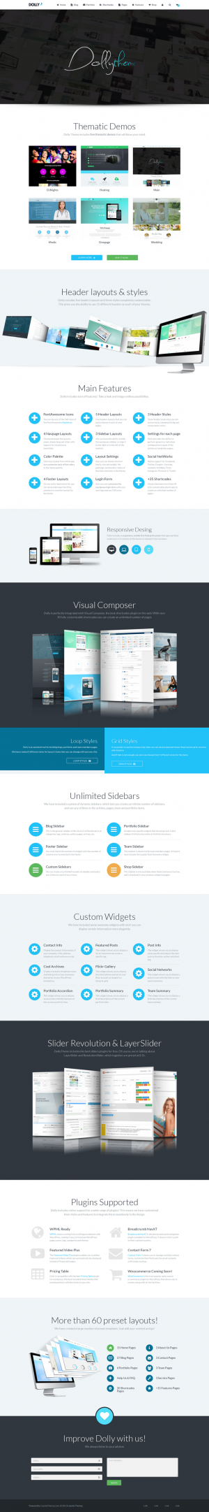 Dolly is a clean, powerful & multipurpose WordPress theme that can be used to build professi ...