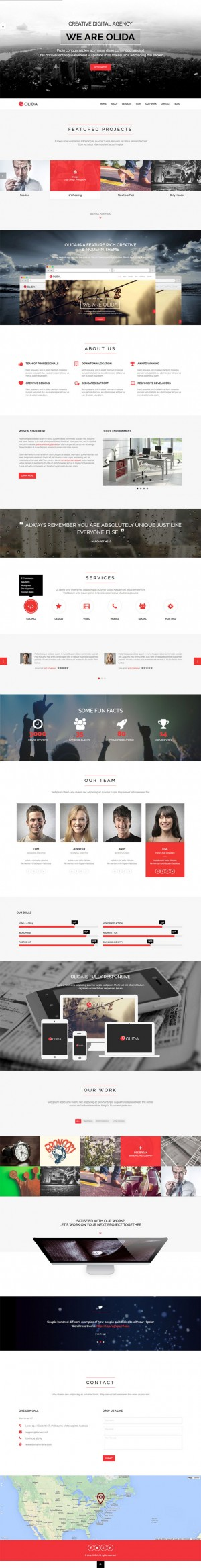 Olida is a super clean responsive one page WordPress theme packed with features! Perfect for cre ...