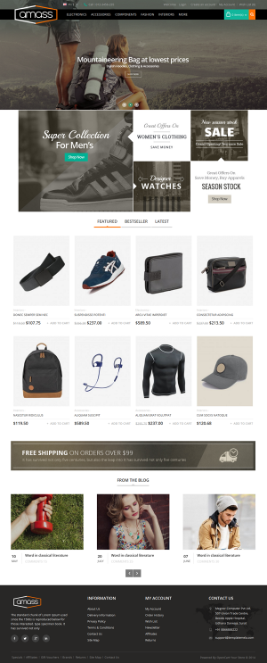 Amass Opencart Responsive Theme is specially designed for sports, fitness, electronics, fashion  ...