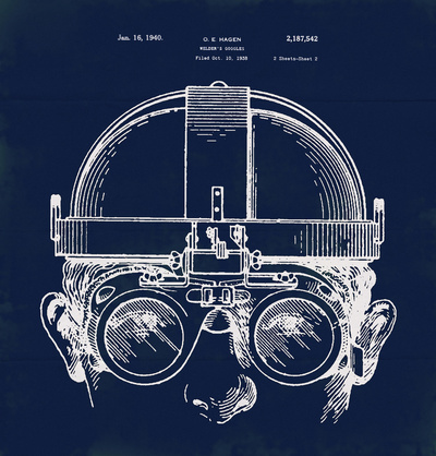 Patent Drawing blueprint for Welding Goggles, Steampunk Art Print