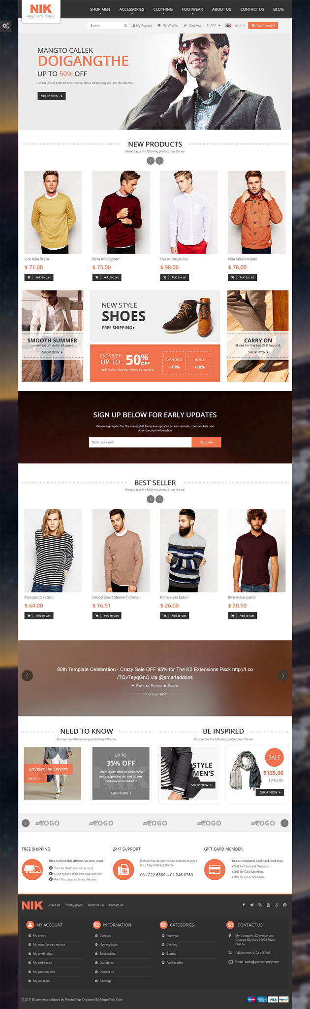 Nik is an elegant, powerful and fully responsive Prestashop theme with modern design. This premi ...