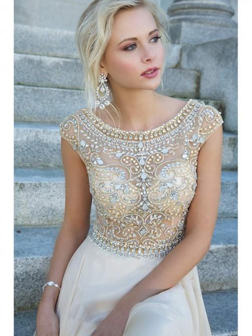 Scoop A-line/Princess Short Sleeves Beading Rhinestone Floor-length Dress – Formal Dresses