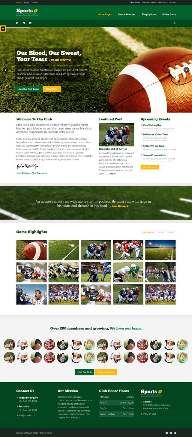sports WordPress theme