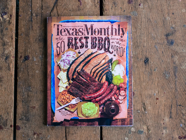 Lettering and illustrations used throughout Texas Monthly's BBQ