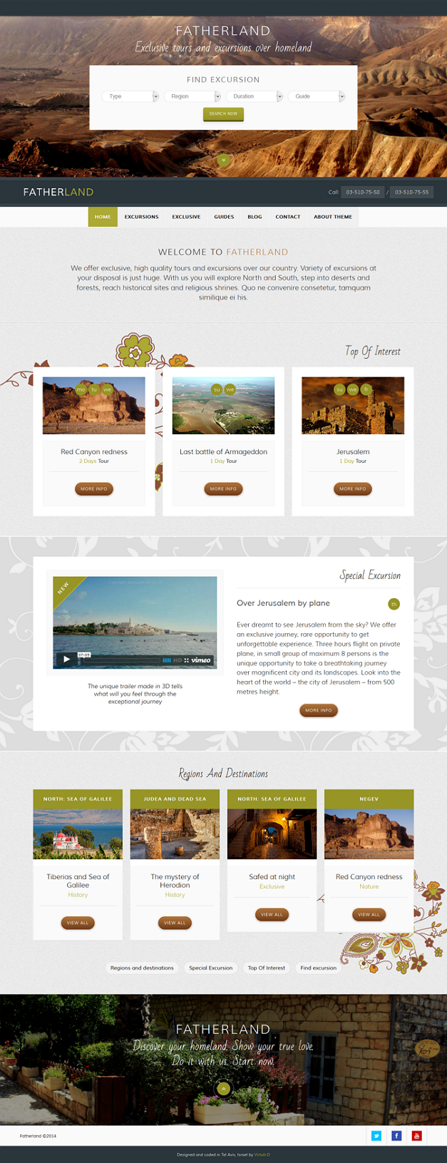 Travel Excursions and Guides Website Template
