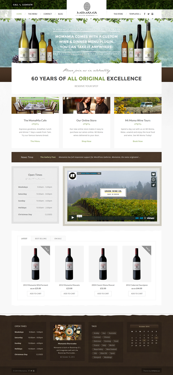 Momamia is a Mediterranean style WordPress theme perfect for restaurants, wineries, wine tour co ...