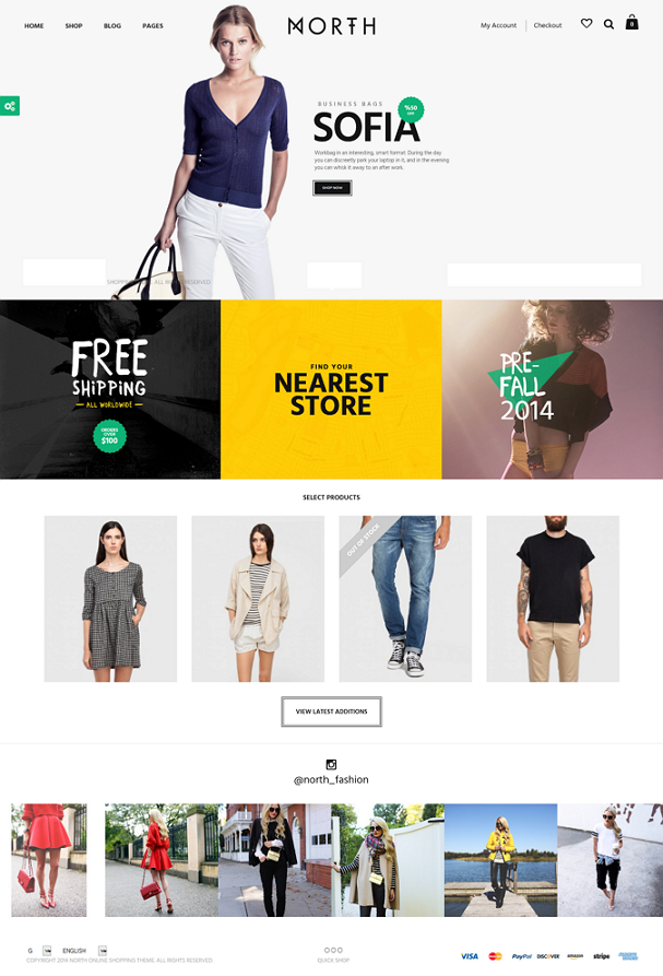 North is an full screen creative unique eCommerce WordPress Theme.
