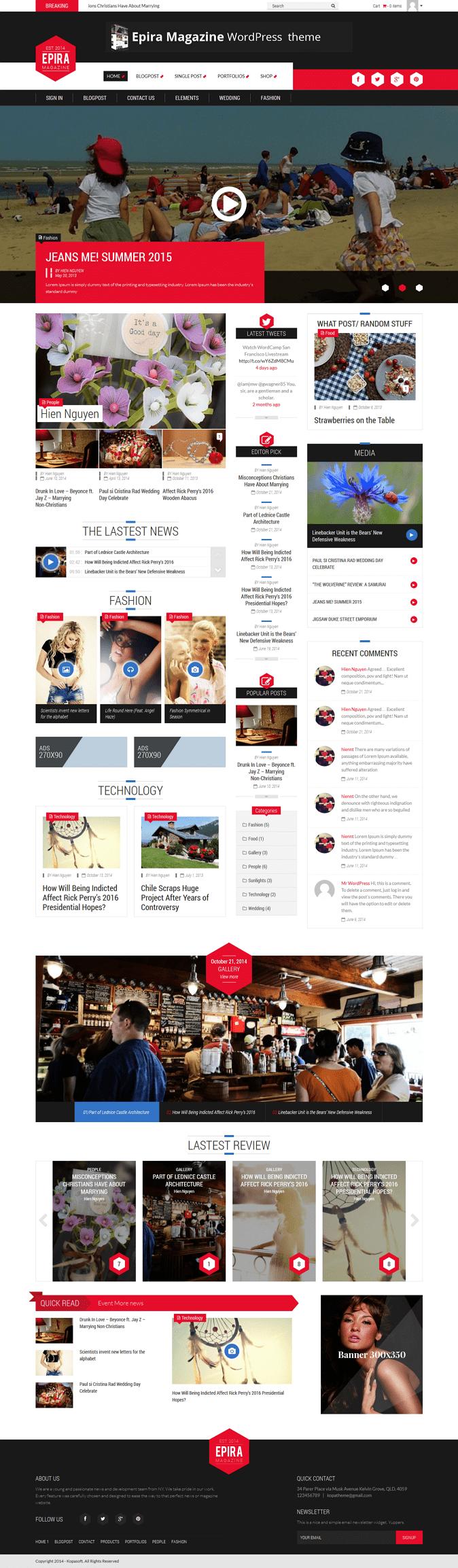 Stunning, Modern, Customizable is what Epira magazine WordPress theme brings to customers who ar ...