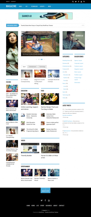 Magazine is a 3-column theme designed to be used with the Themify Builder. Using the intuitive d ...