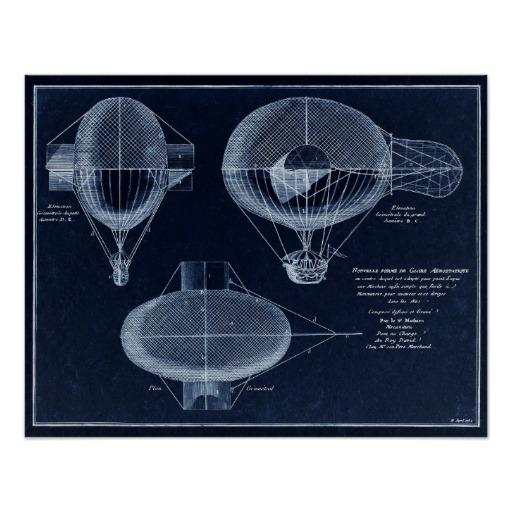 Antique 1784 Blueprint French Balloon Airship art print