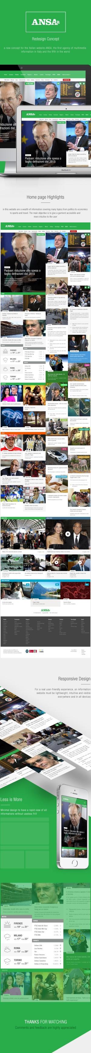 Ansa | Italian media agency Redesign Concept :: A new concept for the Italian website ANSA, the  ...