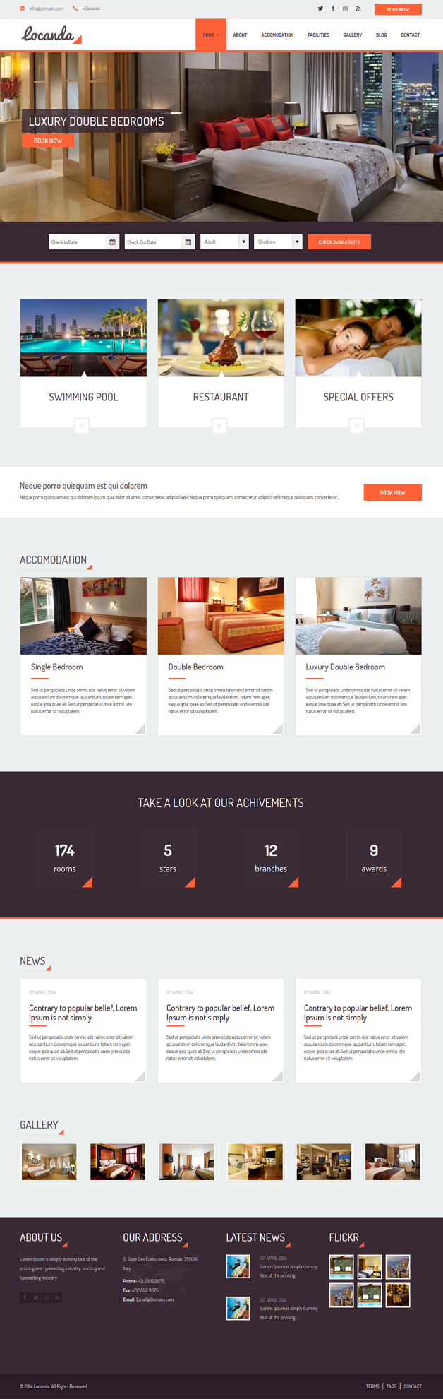 Locanda is responsive website template for Hotel build with Bootstrap framework 3. With clean de ...