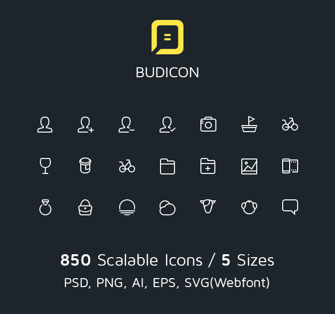 Budicon, 850 Scalable Vector Line Icons