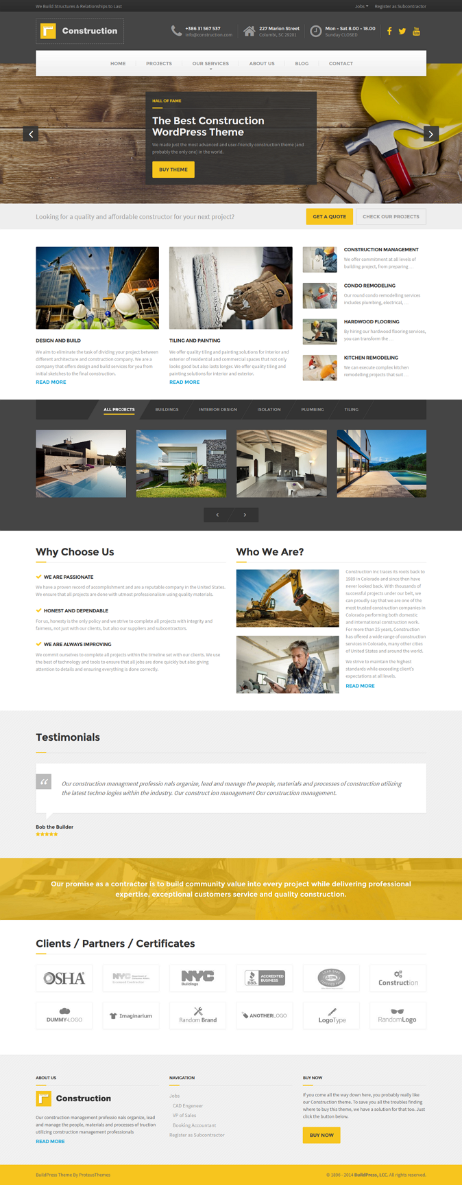 Construction is a premium WordPress Theme for any kind of construction businesses and companies. ...