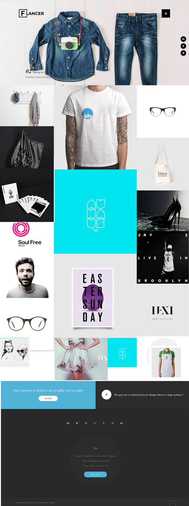 Flancer is a creative design, new trendy portfolio concept for agencies, freelancers, graphic de ...