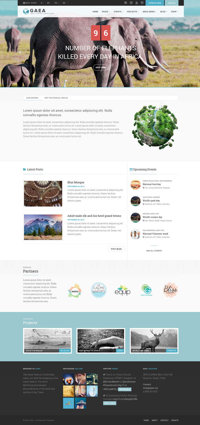 Gaea is a powerful WordPress theme designed & developed for Non Profit, Environmental and Ch ...