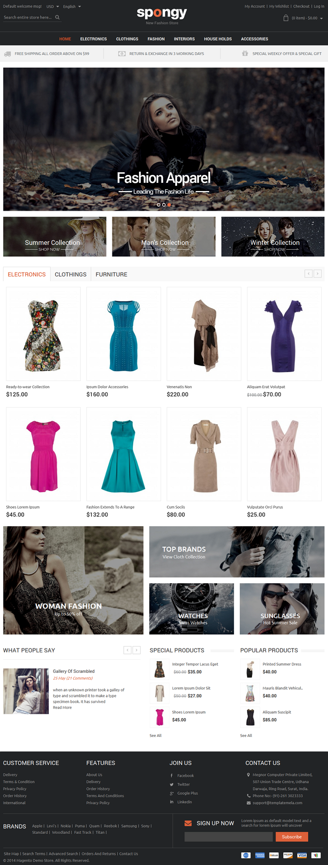 Spongy Magento Responsive Theme is designed for apparel, shoes, jewellery, electronics and multi ...