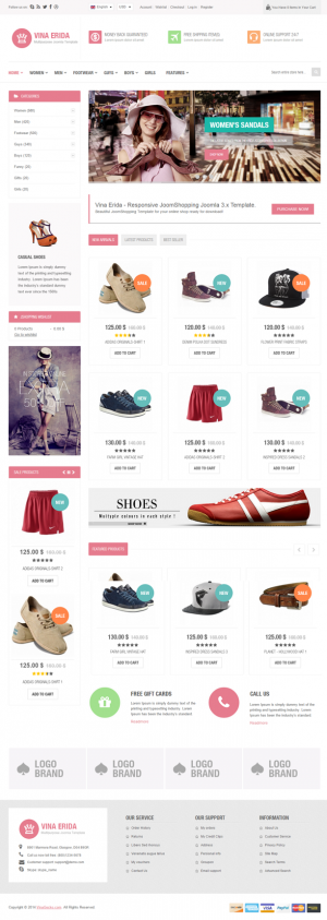 Vina Erida is responsive multipurpose Joomla 3.x Template powered by JoomShopping e-commerce com ...