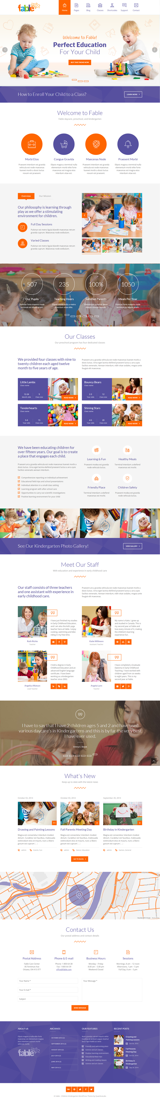 Fable is a responsive WordPress Theme best suitable for kindergarten, child care center, prescho ...