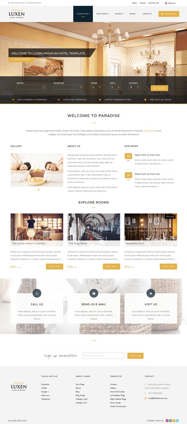 responsive hotel theme