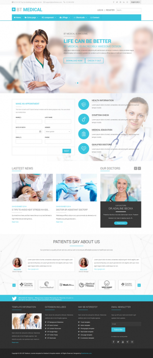 BT Medical is a responsive medical template for Joomla 2.5 and 3.x with clean design and fully f ...