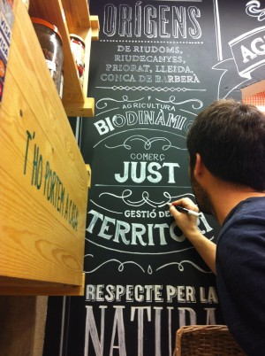 "Mural ""El Maset"" – Handmade and design lettering for a ecological food shop."