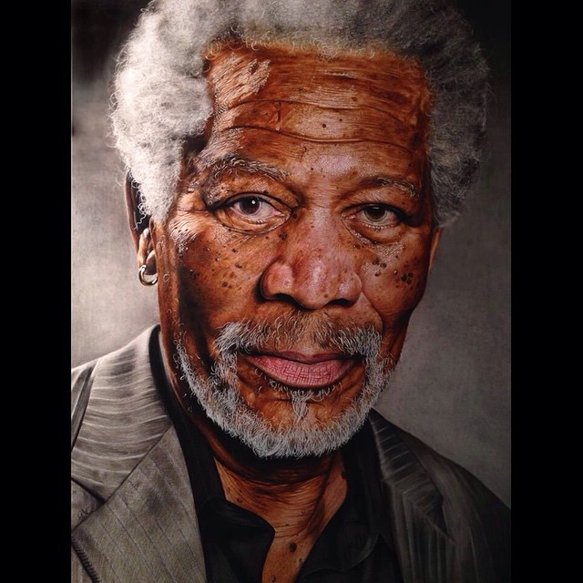 18-year-old artist painted Morgan Freeman, and it looks like a photo
