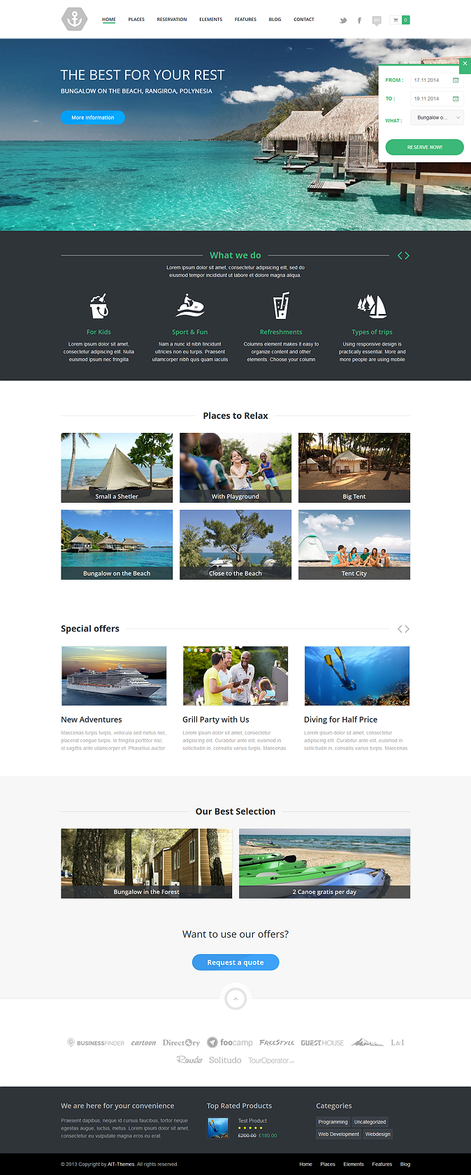 This theme has awesome full easy Reservations support system. You can use it for hotels, resorts ...