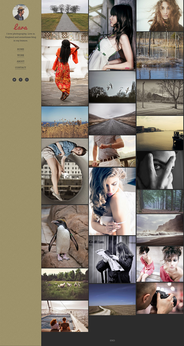 Lara blogger template is strictly designed for photographers and picture bloggers.