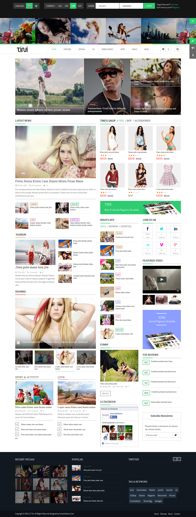 Tini New Joomla Template for News Magazine Shop