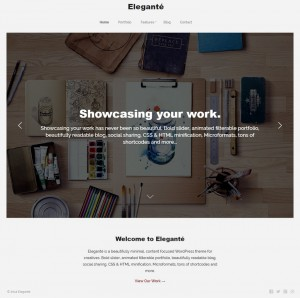 Elegante is a beautifully minimal, content focused, responsive portfolio WordPress theme for cre ...