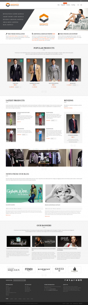 INFINITY is a modern, elegant multipurpose Prestashop theme. Theme is SEO friendly and compatibl ...